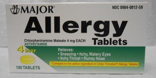 Chlorpheniramine 4mg Tabs - Major Pharmaceuticals Chlorpheniramine 4 mg Tablets, 100 Count
