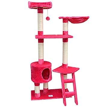 Eyepower Rascador para gatos PIA rosa 142cm árbol rascador poste: Amazon.es: Hogar