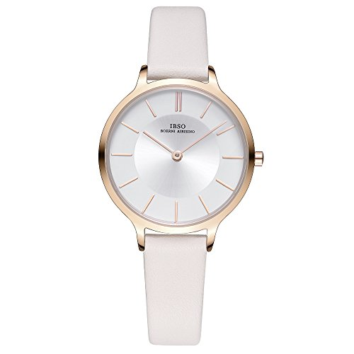 Women Watches Leather Strap Round Case Analog Fashion Ladies Watch on Sale Mesh Bracelet Watch (6608 Beige)