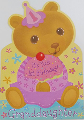 Happy 1st Birthday Granddaughter Greeting Card - First / One Year Old - w/ Party Bear