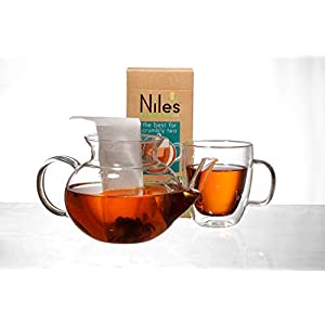 NilesTea Empty Tea Bags Size XL 7-inch x 3.4-inc (100-Count) Disposable Filters for Infusers, Loose Leaf Leaves, Coffee Grounds, Herbs   Heat Sealable Filtration   Natural, Biodegradable, Ecofriendly