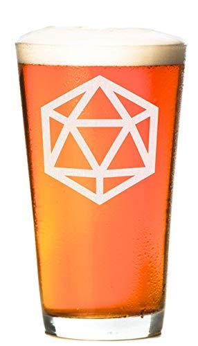 Cocktail Dice - D20 16 oz pint glass - Bar Glass