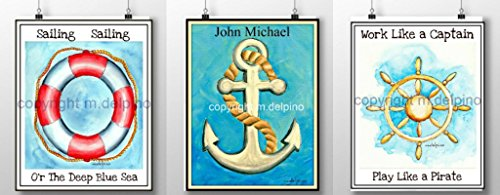 Personalized Nautical nursery prints, ship wheel, anchor, lifesaver, set of 3 with baby's name and quotes. (Personalized Lifesavers)