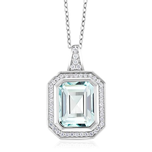 Gem Stone King 925 Sterling Silver Sky Blue Simulated Aquamarine Pendant Necklace 4.64 Ct Octagon Cut with 18 Inch Silver Chain