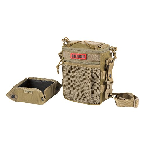OneTigris Treat Tote Bag & Foldable Dog Bowl 2.5L MOLLE Pouch with Removable Shoulder/Waist Strap (Coyote Brown)