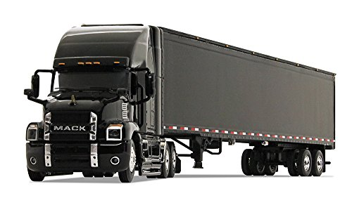 Diecast Tractor Trailer Trucks - First Gear 1/64 scale Diecast Collectible Black/Black Mack Anthem Sleeper Cab Tractor with 53' Trailer (#60-0366)