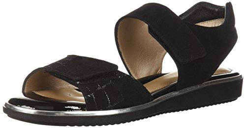 BeautiFeel Women's ROMI Flat Sandal, Black Crocco Print Suede, 410 M EU (10 US)