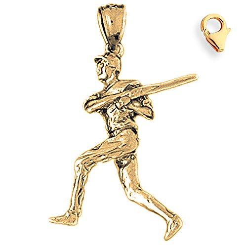 (Jewels Obsession 3D Baseball Player Charm | 14K Yellow Gold 3D Baseball Player Charm Pendant - 33mm)