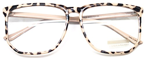 Big Square Horn Rim Eyeglasses Nerd Spectacles Clear Lens Classic Geek Glasses