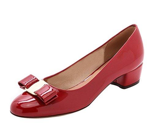 Guoar Para Mujer Cerrado Tacón Bloqueado Patente Bowknot Bombas Zapatos Bajos Talones Para Fiesta De Vestido Rojo Patente