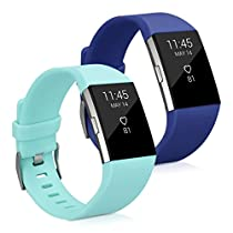 kwmobile 2in1 set: 2x Sport spare bracelet for Fitbit Charge 2 in dark blue mint Inner dimensions: approx. 17 - 23 cm - silicone bacelet with clock clasp without tracker