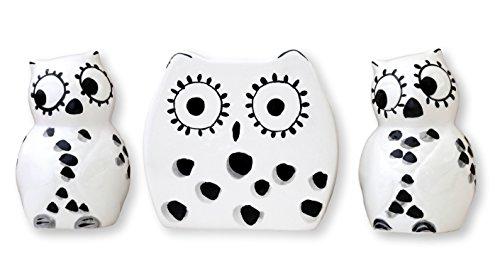 Tuscany Cute Black and White Owl, Ceramic Napkin Holder, Salt and Pepper Set, 81628 by (Best Ack Napkin Holders)