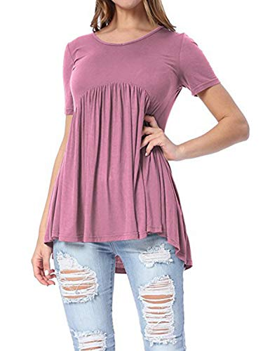 ZJFZML Tunic Shirts for Women, Feminine Boat Collar Short Sleeve Loose Fit Flowy Flare Pleated Dressy Shirt Retro Classic Comfy Gorgeous Tops for Workout Lightweight Tee Purple XL