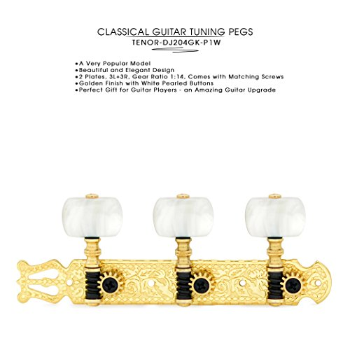 DJ204GK-P1W TENOR Classical Guitar Tuners, Tuning Key Pegs/Machine Heads for Classical or Flamenco Guitar in Gold Plated Finishing with Pearl Colored Buttons.