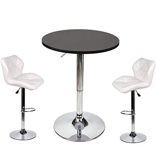 2 Piece Set Pub Table - Bar Table Stools Set - 3 Piece Pub Dining Kitchen Furniture (White 2)