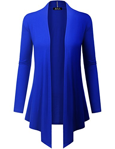 Because I Love You Women's Open Front Drape Hem Lightweight Cardigan - Large - Royal Cashmere Summer Cardigan