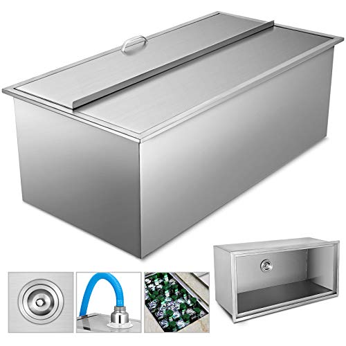 (VEVOR Drop-in Ice Chest with Cover Stainless Steel Over/Under Height Single Basin Insulated Wall Drop in Cooler 36