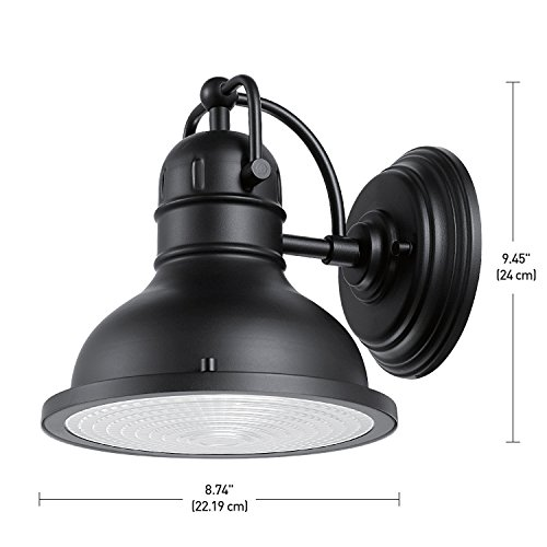 Globe Electric Harbor Outdoor Wall Sconce with Clear Plastic Diffuser, Matte Black Finish ...