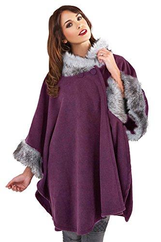 Lora Dora para Mujer Collar DE Pelo Capa Envoltorio Chal para Manta DE Perchero DE Pared DE LUZ Blanca CÁLIDA DE Invierno Traje DE Neopreno para Mujer Talla ÚNICA Port Wine - Purple
