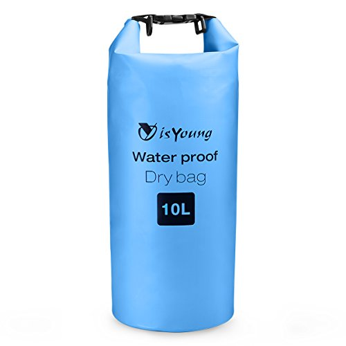 isYoung Waterproof Dry Bag for Traveling, Hiking, Floating, Climbing, Camping, Fishing - 10L Blue