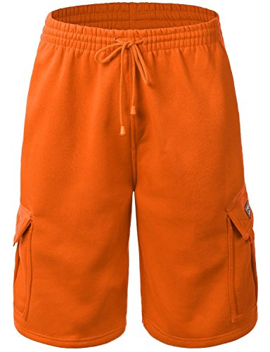 Men's Cargo Sweat Shorts Elastic Drawstring Casual Loose Fit Fleece (X-Large, 1RD0002-Orange)