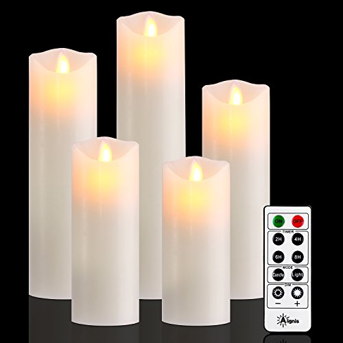 Battery Candles,Flameless Candles Realistic Moving Set of 5 ( 5/6/7/8/9) Flickering Candles with 10-key Remote Control with 24-hour Timer Function by Aignis