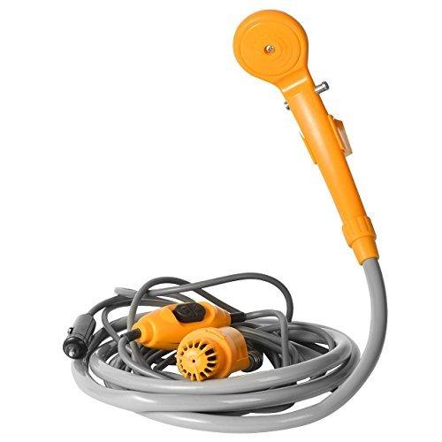 RenXinU Douche Electrique Portative Exté rieure de Voiture 35W 12V Orange avec Tube Flexible de Voyage Camping