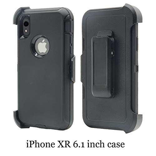 for iPhone XR(6.1 inch), Chanroy Hybrid Rubber Plastic Impact Defender Rugged Hard Case,Protective Case +1 Belt Clip Holster(Black+Black)