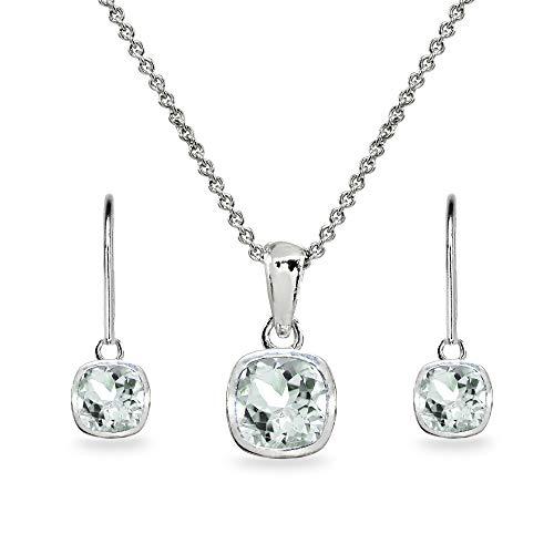 - Sterling Silver Aquamarine Cushion-Cut Bezel-Set Necklace & Dangle Leverback Earrings Set