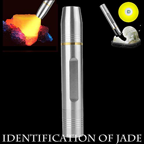 (Feccile Jewelry Gemstone Appraisal Light Professional Jade Flashlight Torch Outdoor Glare Lighting Stainless Steel Flashlight Jade Jewelry Identification )
