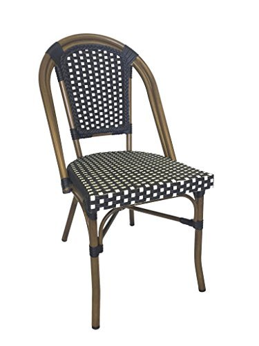 Table in a Bag CBCNW Faux Bamboo All-Weather Wicker Stackable Bistro Chair, Navy with White Accents (Outdoor French Table Bistro)
