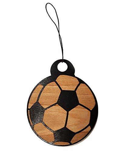 Soccer Ball Laser Engraved Wooden Rear View Mirror Car Charm Dangler