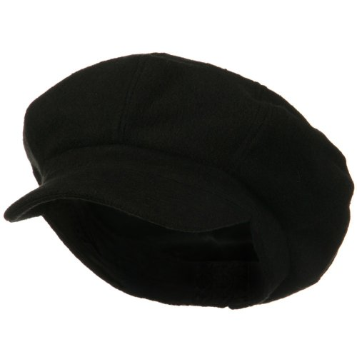 E4hats Wool Cap (Big Size Classic Wool Newsboy Cap - Black 2XL-3XL)