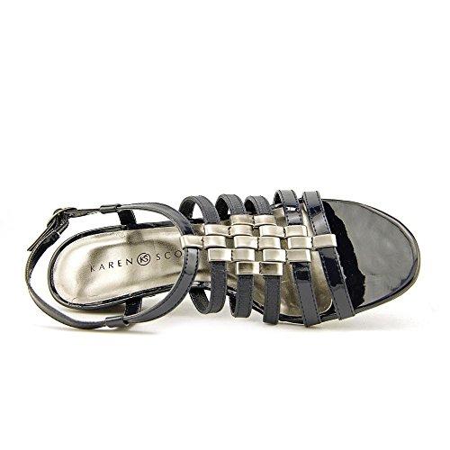 Karen Scott Womens Jessaa Open Toe T-strap Scarpe Con Zeppa Navy