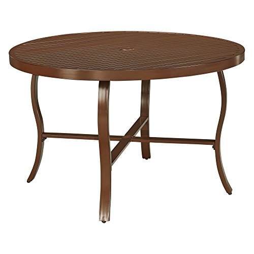Home Styles 5701-32 Key West Round Outdoor Patio Dining Table, Chocolate Brown