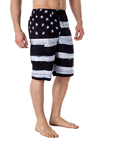Alki'i Mens USA Flag Microfiber Hybrid Board Shorts Black S by Alki'i