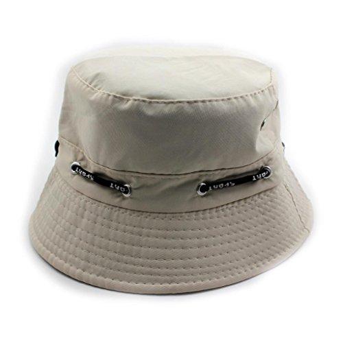Fashion Unisex Bonnet Reversible Folding Sunhat Beach Hiking Bucket Hat Cap Beige