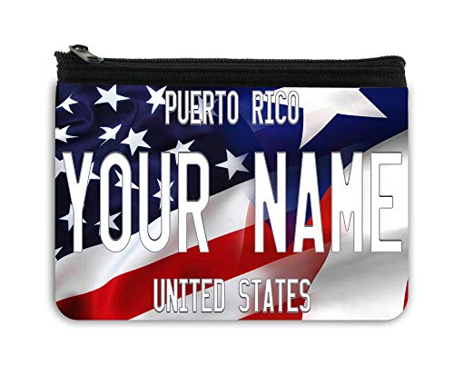 BRGiftShop Personalized Custom Name Mixed USA and Puerto Rico Flag Neoprene Coin Purse