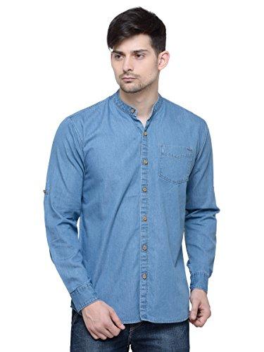 LA Seven Blue Solid Full Sleeves Slimfit Denim Casual Shirt