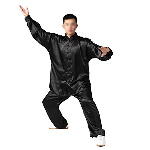 Chinese Mens Jacket Pants (Andux Chinese Traditional Tai Chi Uniforms Kung Fu Clothing Unisex SS-TJF01 Black (L))