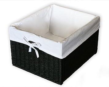 c85b045405fb KMH®, Panier de rangement pratique aspect rotin (Noir avec doublure  intérieure Blanc)