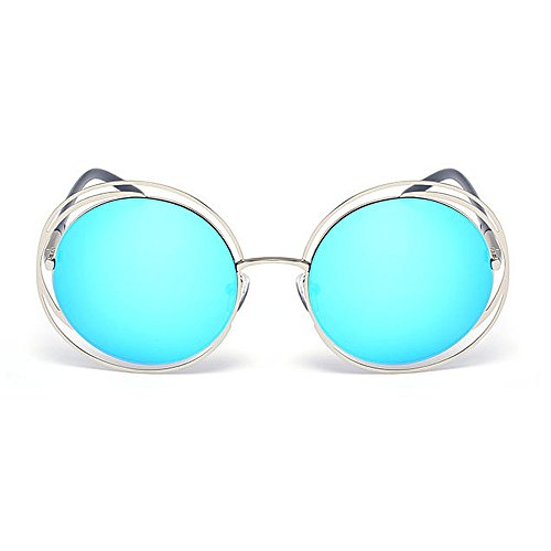 Aire Gafas Sol Gu Peggy Gris de Redondo Marco Libre Color Marco Color Estilo Lente UV de Azul Protección Viajar Retro Conducción metálico al wqdT4Azq