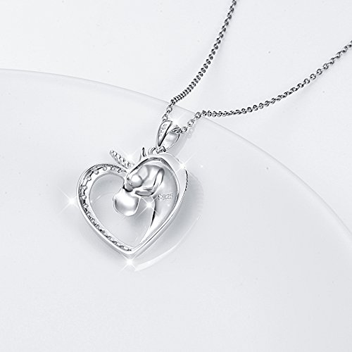 Sterling Silver Forever Love Unicorn in Heart Pendant Necklace for Women Girl, Rolo Chain 18'' by Silver Light Jewelry (Image #4)