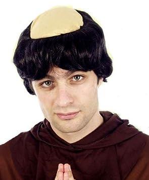 Disfraz pieza pelo peluca medieval religioso cabeza calva monje fraile adulto