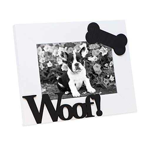 Dog Frame Picture Bone - Isaac Jacobs White Wood Sentiments Dog