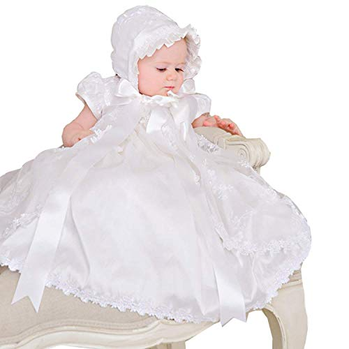 Aorme Baby Girls Christening Gown Lace Baptism Dress Silk Ribbon Bowknot (10-12 Months)