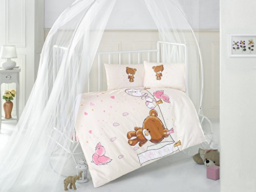 Teddy Bear V1 Pink Baby Cot Bed Duvet Cover Set, 100% Cotton Soft and Healthy 4-Pieces Bedding Set by TI Home