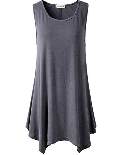 (Lanmo Women Plus Size Solid Basic Flowy Tank Top Summer Tunic(2X, Deep Gray))