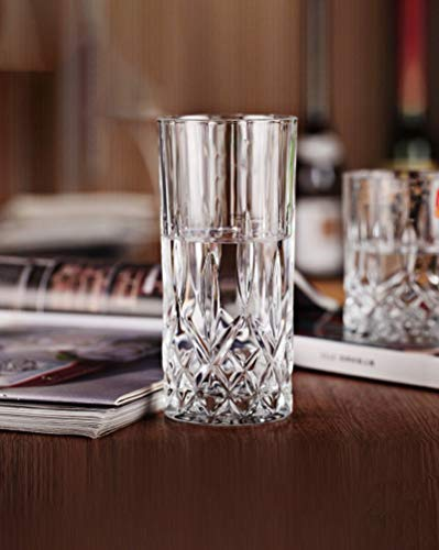 Crystal Drinking Glass - Le'rze Posh Collection Glass Drinking Glasses Set, Set of 6, Special Edition CRYSTAL HIGHBALL Glassware Serveware Drinkware Cups/coolers Set