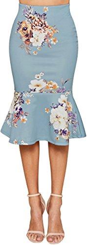 Trend Director Women's Midi High Waist Boho Floral Printed Skirt Mermaid / Trumpet Skirt Elastic-Waist Pencil Skirt in Pink, Mauve, and Blue (Large, (Blue Floral Skirt)